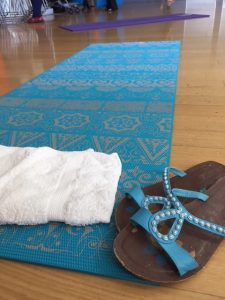 Yoga mat with sandals